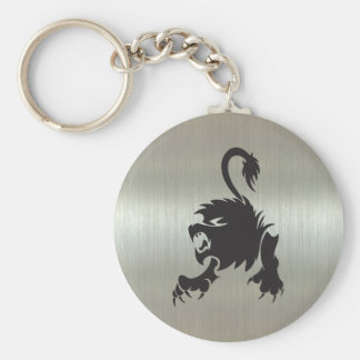 Leo Lion Silhouette on Metallic Effect Key Ring