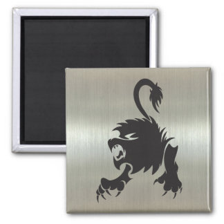 Leo Lion Silhouette on Metallic Effect Magnet