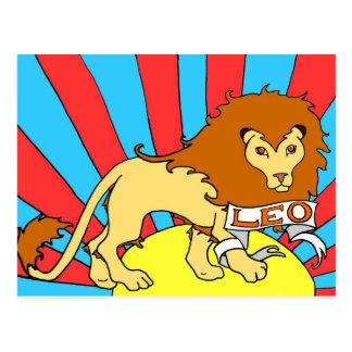 Leo Lion zodiac postcard