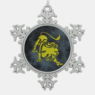 Leo Pewter Snowflake Decoration