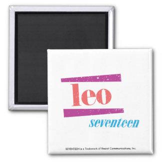Leo Pink Square Magnet