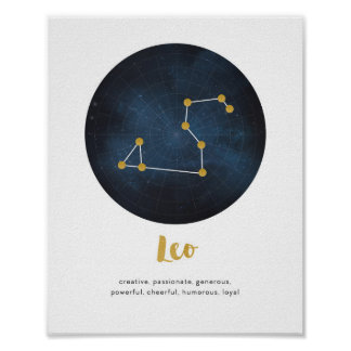 Leo star sign print