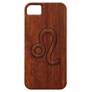 Leo Symbol in Mahogany Wood Style Decor iPhone 5 Case