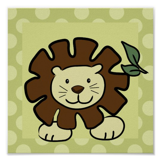 Leo the Lion 10x10 Square Print in Green