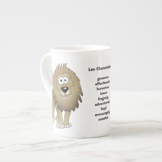 Leo the lion cartoon on a mug. tea
