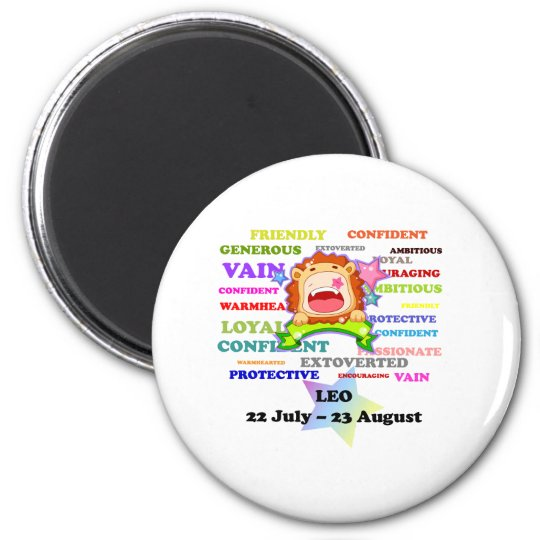 Leo, the Lion,  Zodiac Sign Custom Astrology Gifts 6 Cm Round Magnet