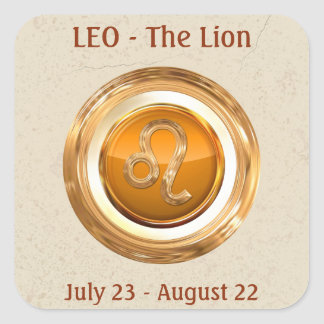 LEO - The Lion Zodiac Sign Square Sticker