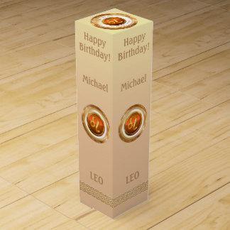 LEO - The Lion Zodiac Sign Wine Box