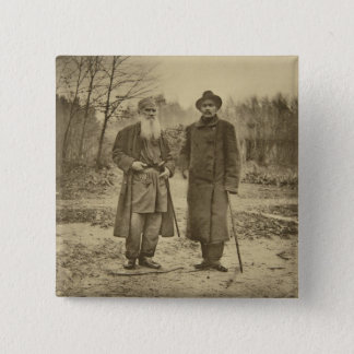 Leo Tolstoy and the author Maxim Gorky 15 Cm Square Badge
