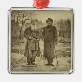 Leo Tolstoy and the author Maxim Gorky Silver-Colored Square Decoration