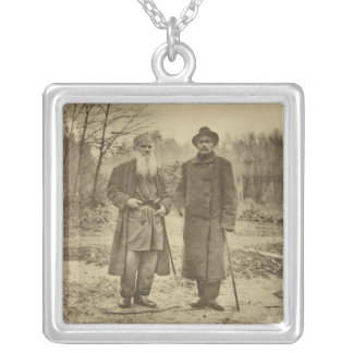 Leo Tolstoy and the author Maxim Gorky Silver Plated Necklace