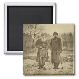Leo Tolstoy and the author Maxim Gorky Square Magnet