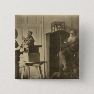 Leo Tolstoy and the sculptor Prince Paolo 15 Cm Square Badge