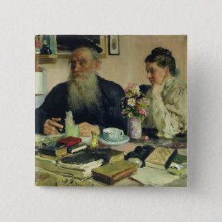 Leo Tolstoy with his wife in Yasnaya Polyana 15 Cm Square Badge