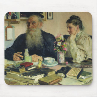 Leo Tolstoy with his wife in Yasnaya Polyana Mouse Mat