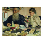 Leo Tolstoy with his wife in Yasnaya Polyana Post Card