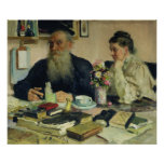 Leo Tolstoy with his wife in Yasnaya Polyana Posters