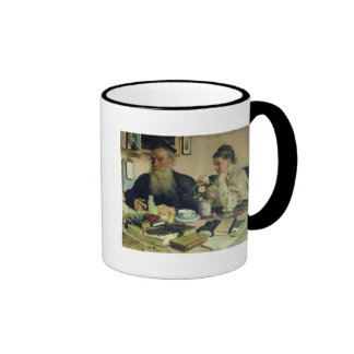 Leo Tolstoy with his wife in Yasnaya Polyana Ringer Mug