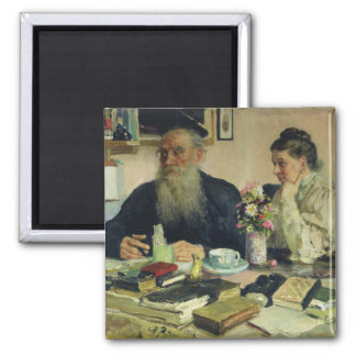 Leo Tolstoy with his wife in Yasnaya Polyana Square Magnet