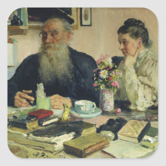 Leo Tolstoy with his wife in Yasnaya Polyana Square Sticker