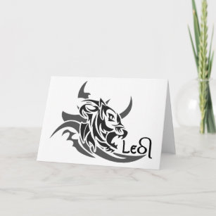97efccfa7 Leo Tribal Lion Tattoo Custom Greeting Card
