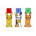 Leo zodiac birthday cats. postcard