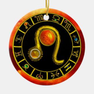 LEO ZODIAC BIRTHDAY JEWEL YELLOW TOPAZ Gold Christmas Ornament