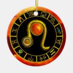LEO ZODIAC BIRTHDAY JEWEL YELLOW TOPAZ Gold Christmas Ornaments
