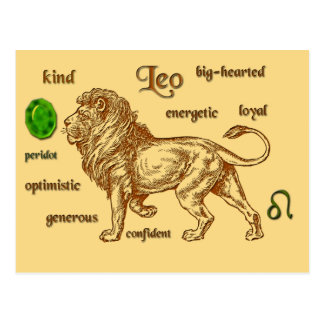 Leo zodiac characteristics postcard