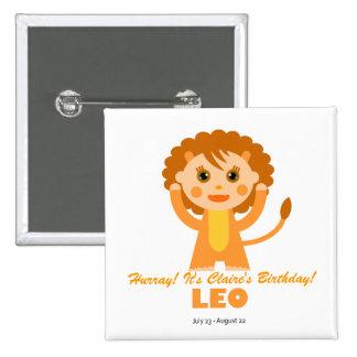Leo Zodiac for Kids 15 Cm Square Badge