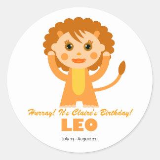 Leo Zodiac for Kids Classic Round Sticker