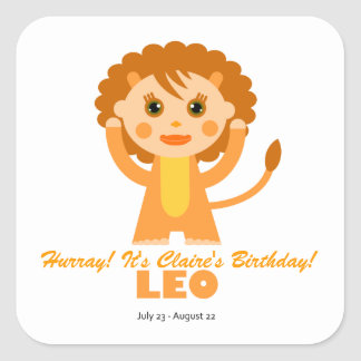 Leo Zodiac for Kids Square Sticker