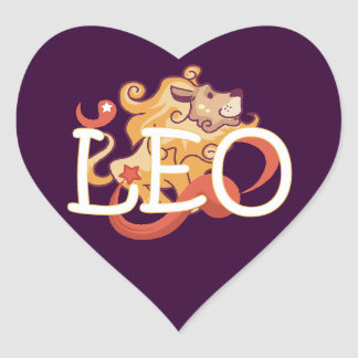 Leo zodiac heart sticker