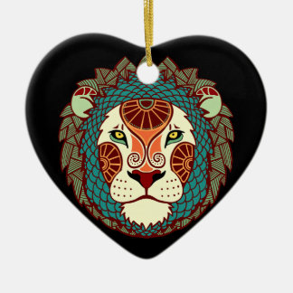 Leo Zodiac - Lion Ceramic Heart Decoration