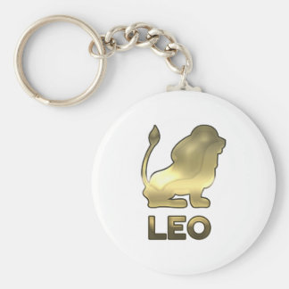 Leo zodiac sign - old gold edition key ring