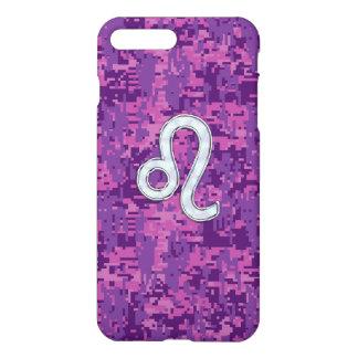 Leo Zodiac Sign on Fuchsia Camouflage iPhone 7 Plus Case