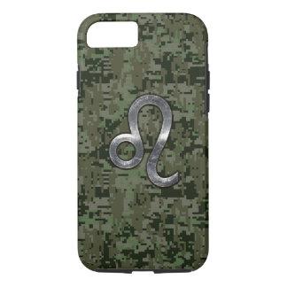 Leo Zodiac Sign on Green Digital Camo iPhone 7 Case