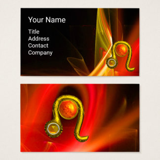 LEO ZODIAC SIGN  ,RED ORANGE FRACTAL WAVES,SWIRLS BUSINESS CARD
