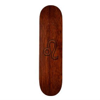 Leo Zodiac Symbol in Mahogany wood style decor Skate Board Decks