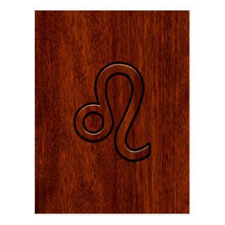 Leo Zodiac Symbol in Mahogany wood style Postcard