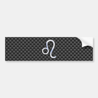 Leo Zodiac Symbol on Carbon Fiber Style Print Bumper Sticker