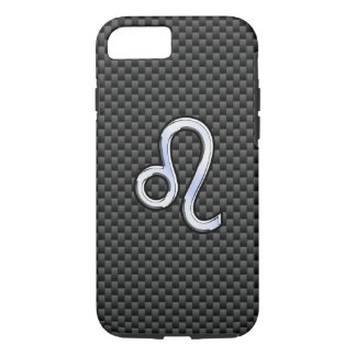 Leo Zodiac Symbol on Carbon Fiber Style Print iPhone 7 Case