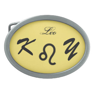 Leo Zodiac Symbol Standard by Kenneth Yoncich Oval Belt Buckle