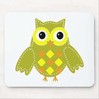 Leon the Lime Green Adorable Owl Mouse Pads