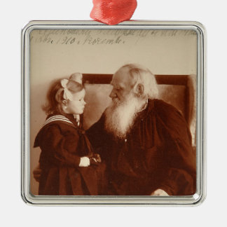 Leon Tolstoy with his granddaughter, Tatiana Silver-Colored Square Decoration