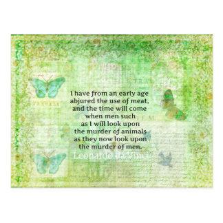 Leonardo da Vinci  Animal Rights quote vegan Postcard