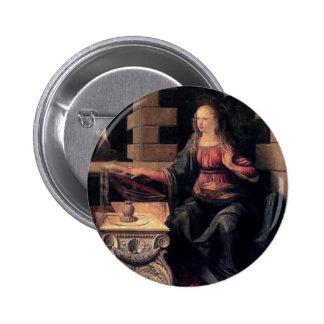 Leonardo Da Vinci Annunciation 6 Cm Round Badge