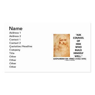 Leonardo da Vinci Ask Counsel Who Rules Himself Pack Of Standard Business Cards