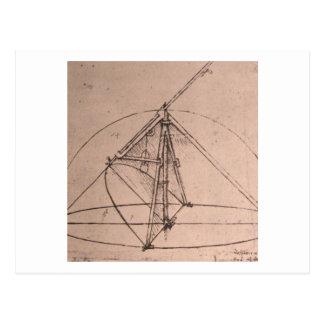 Leonardo da Vinci, design for a parabolic compass Postcard