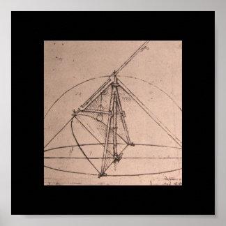 Leonardo da Vinci, design for a parabolic compass Poster